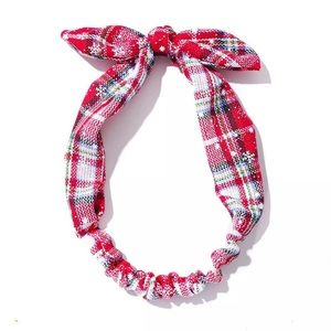 Red and White Plaid Flannel Headband